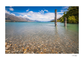 Alpine scenery from Dart River bed at Kinloch, New Zealand