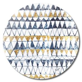 Tribal Indigo Gold Trinagle Pattern