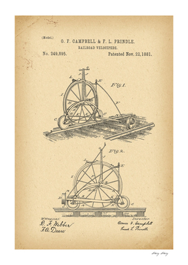 1881 Patent Velocipede Railroad Bicycle history innovation