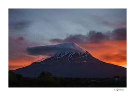 Mount Taranaki ON Fire at sunset - New Zealand