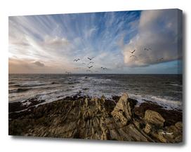 Sunset Flight over Morte Stone