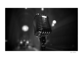 Vintage Microphone Gray scale