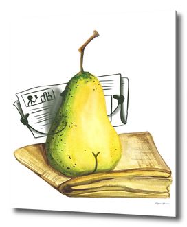 Pear watercolor illustration