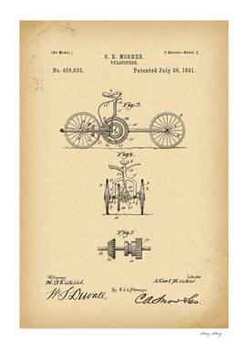 1891 Patent Velocipede Bicycle history invention