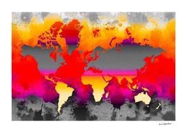 Orange Glow World Map