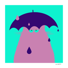 Lilac Cat with Umbrella
