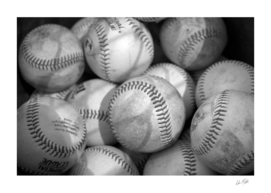 Baseballs in Black and White