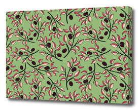 Bright flower seamless pattern with branches of plum tree
