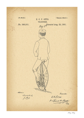 1881 Patent Velocipede Bicycle history  invention