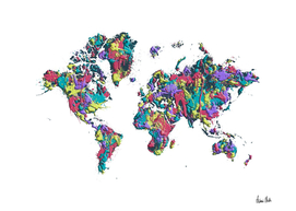 POP ART World Map white | Splashes