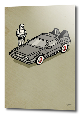 stormtrooper and a delorean