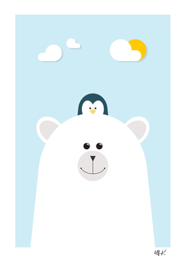 Polar Bear & Penguin • Colorful Illustration