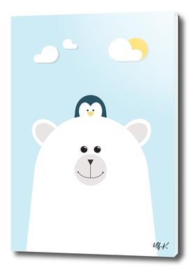 Polar Bear & Penguin • Colorful Illustration