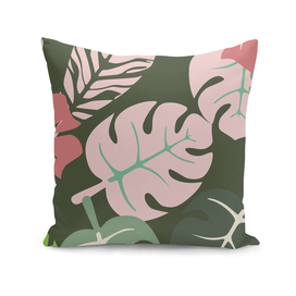 Tropical leaves green and pink paradises