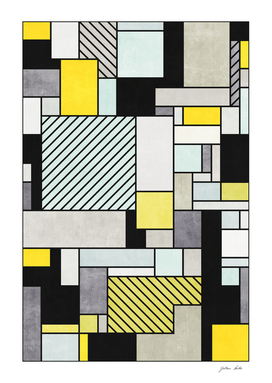 Random Concrete Pattern - Yellow, Blue, Grey
