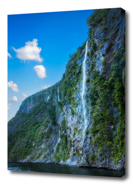 Waterfall on a cliff at Milford Sound