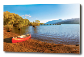Glenorchy Wharf and pier at golden hour in New Zealand