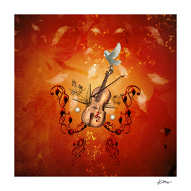 Violin with violin bow