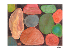 Lovely colorful Stones on dark Background