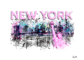 Modern Art NEW YORK CITY Skyline Splashes | pink