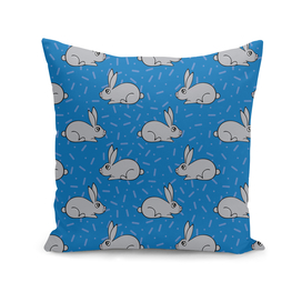 Seamless pattern with hand-drawn lovely hares.