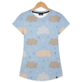 Lovely seamless pattern with abstract doodles and clouds.