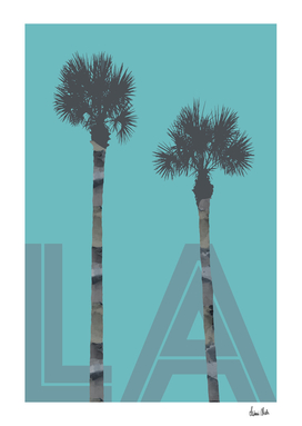 Graphic Art PALM TREES LA | turquoise