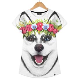 Husky with flowers