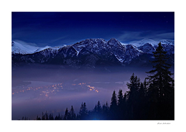 The mountains at night