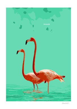 Flamingos on Sea Green