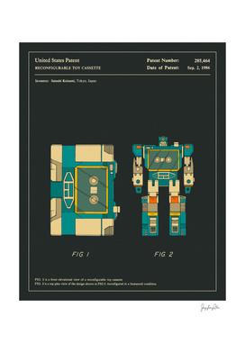 Reconfigurable Toy Cassette Patent (1986) (Black)