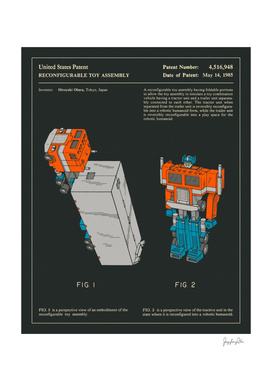 Reconfigurable Toy Patent (1985) (Black)
