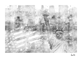 Graphic Art MANHATTAN Collage | silver