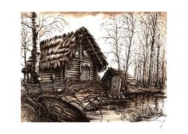 Slavic Hut sepia