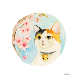 """Hanami"" - Calico Cat and Cherry Blossom"