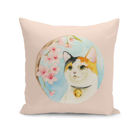 """""""Hanami"""" - Calico Cat and Cherry Blossom"""