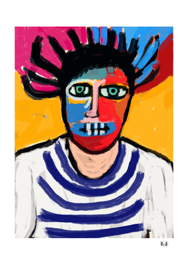 Autoportrait de l'artiste avec un t-shirt de marin