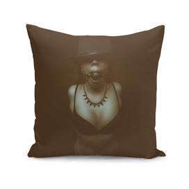 fetish dark portrait girl in hat and bra with gag