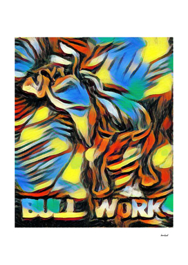 Bucking Bull Multi-Colored Abstract Original Artwok