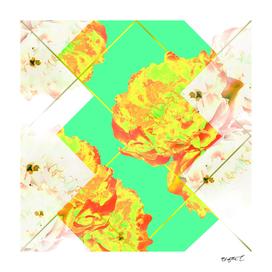 Abstract Geometric Pop Green Peonies Flowers Design