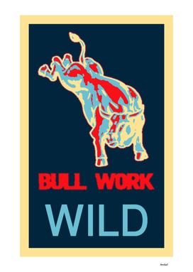 Bucking Bull Yellow, Red, Blue Poster Original Artwork