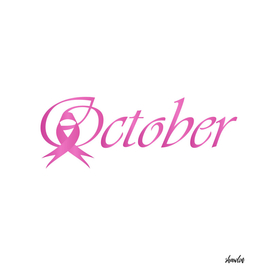 Word October with pink ribbon
