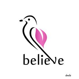 BELIEVE- Cute little bird showing belief in its wings
