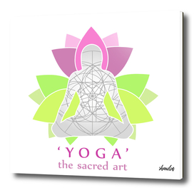 Woman in Yoga pose with text