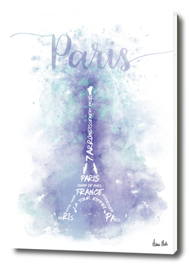 TEXT ART Watercolor Eiffel Tower | violet & turquoise