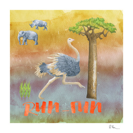 RUN FUN - Ostrich Illustration
