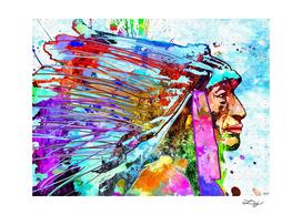 Native American Portrait Grunge