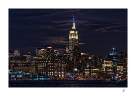 Shy Moon Over Midtown New York City