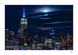 Super Blue Moon Rising Over Manhattan
