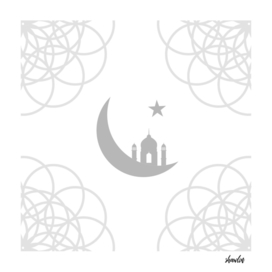 Mosque and crescent moon